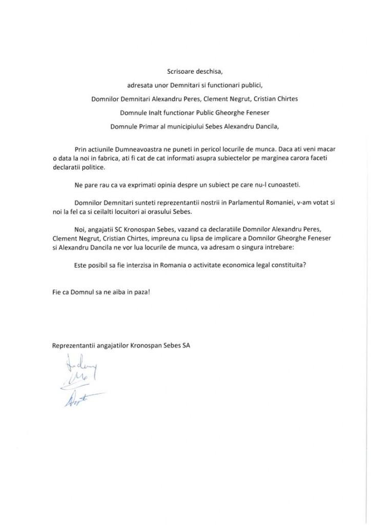 scrisoare angajati kronospan