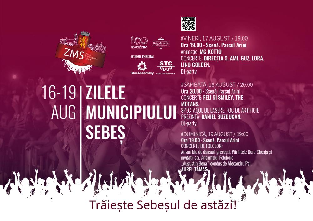 """16-19 august: Sunteți așteptați la """"Zilele Municipiului Sebeş"""". Smiley, The Motans, Feli și Direcția 5, printre invitați. PROGRAMUL COMPLET!"""