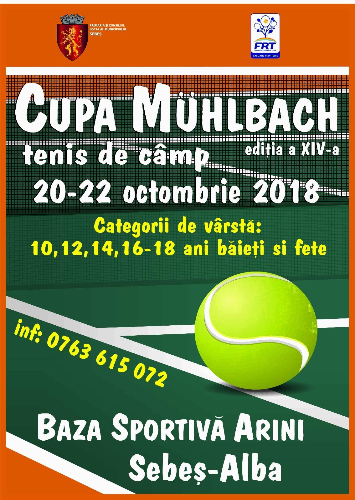 """20-22 octombrie: La Sebes, are loc cea de-a XIV- a ediție a Cupei """"Muhlbach"""" la tenis de câmp"""