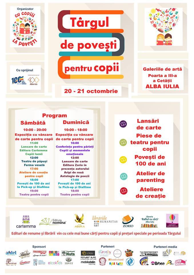 Alba Iulia: Târgul de povești pentru copii, eveniment dedicat exclusiv celor mici